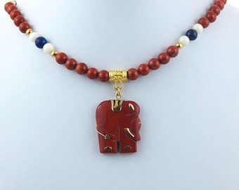 Red Jasper Elephant, Lapis & Jade Natural Stone Pendant Necklace