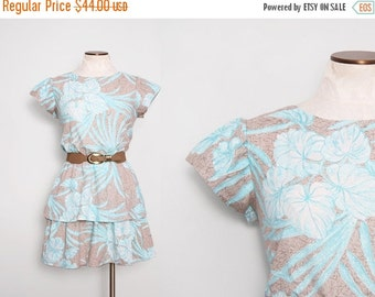 SALE 1980s Tropical Dress / Vintage 80s Tiered Dress / Medium