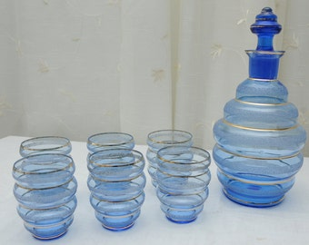 Blue and Gold 'Bubble' Decanter and Six Glasses