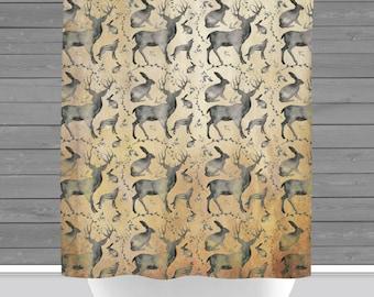 Wilderness Shower Curtain: Woodland Animals Deer Wold Rabbit Outdoors Farm Cabin Bath    Made in the USA   12 Hole Fabric Bathroom Decor