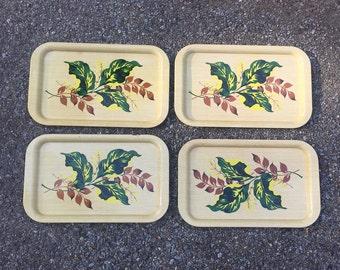 Vintage set of 4 leaf woodgrain metal trays