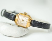 Luxury woman watch Ray, art deco style women's watch gold plated, lady wristwatch square rare, cocktail watch her, leather strap new