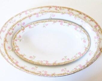 Vintage Large Platter and Serving Bowls 1910 Antique Oscar & Edgar Gutherz Porcelain Serving Plate Bowls Pink Green Rosebud China Bowl Plate