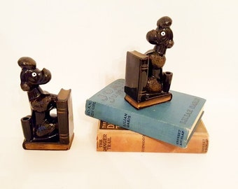 Vintage Bookends Dog Bookends French Poodle China Figurines Dog  Statues Poodle Figurines Midcentury Decor Black Gold Bookends  Gift
