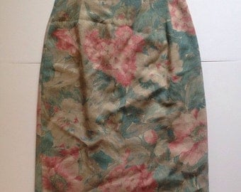 Pastel Floral High Waisted Skirt - Made in USA Vintage