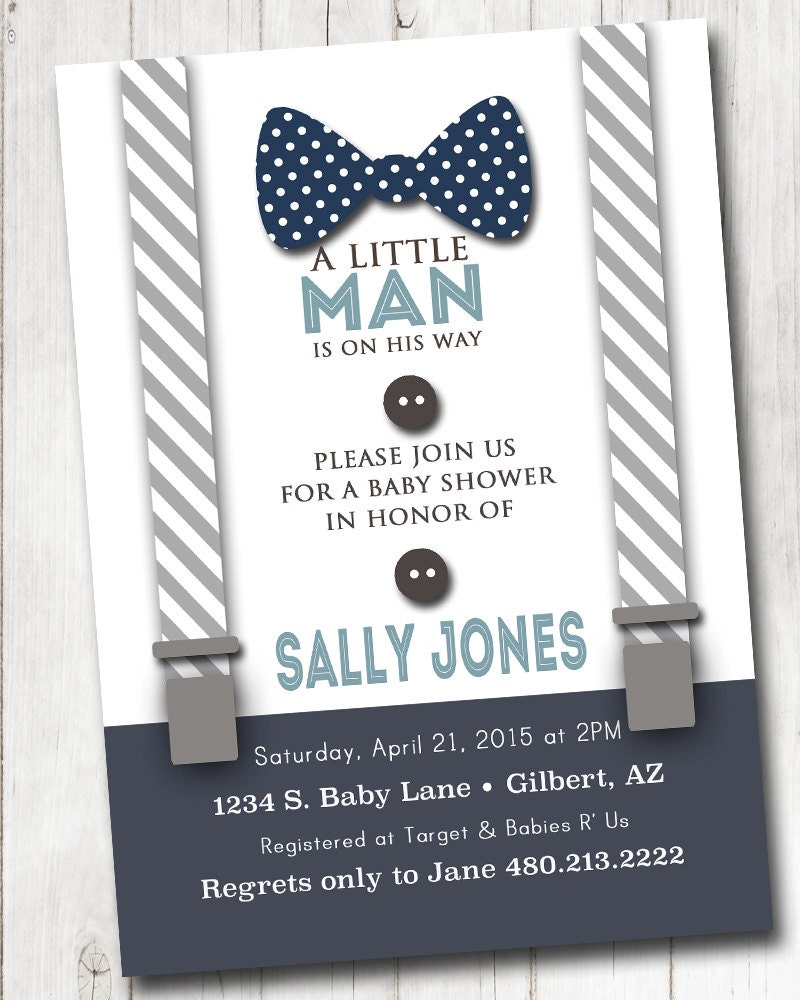 Boy Baby Shower Invitation With Bow Tie And Suspenders Burlap