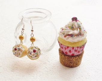 Cupcake Trinket Jar And Earrings Set.  Polymer clay