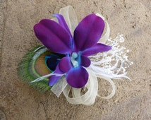 Galaxy orchid baby's breath hair accessory, hair clip, peacock feathers, ribbons, ostirch feather accent