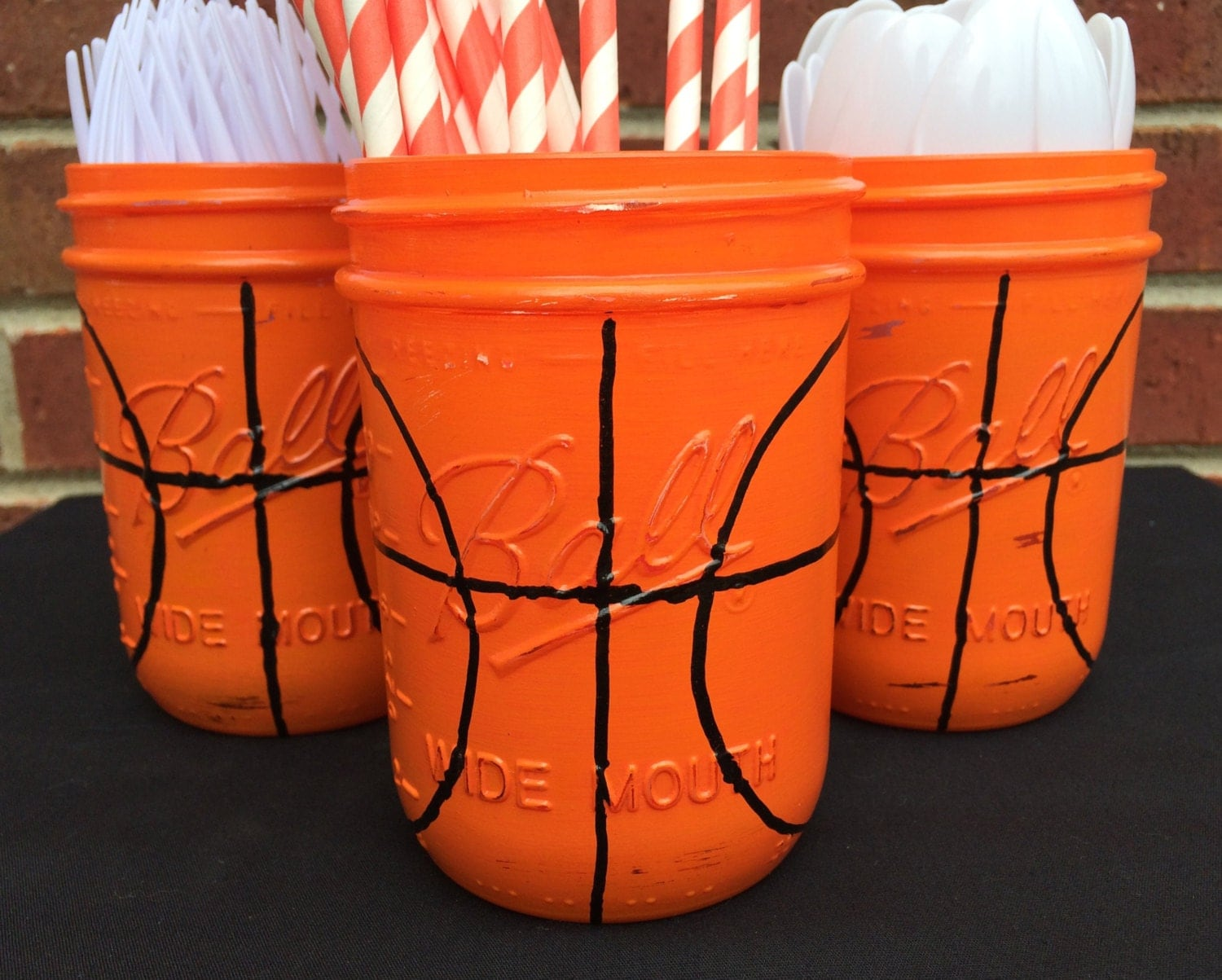 Hand painted basketball birthday decor basketball utensil for Basketball craft party ideas