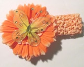 Reborn Head Band Pretty Orange Stretch Head Band with 4 inch Flower & Butterfly
