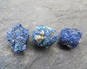 Azurite Raw Natural Crystals // Mineral Specimens from Morocco // Lot of 3 // Third Eye Healing Crystal
