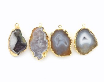 Half Geode Pendant with Electroplated 24k Gold Edge High Grade Mexican Geode (S84B9-09)