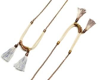 Long Tassel Necklace, Dip Dye Necklace, Hippie Necklace, Tassel Pendant Necklace, White Necklace, Rope Necklace