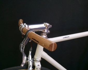 oak and ash wood curved bicycle handlebar