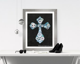Christian Decoration Button Art Print Cross Christian Catholic Bible Prayer Pearly Sparkly Chalkboard Print Giclee Swarovski Button Cross