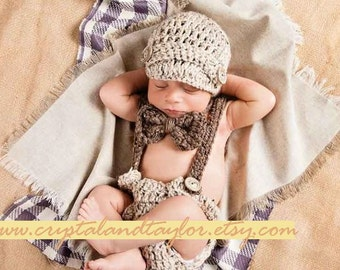 Baby Boy Hat, Bow Tie, Diaper Cover and Suspenders, Newborn Set, Baby Hat, Newborn Hat, Crochet Baby Hat, Boy Hat