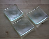 Reclaimed Glass Little Square Dishes, Set of 3