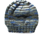Mens Unisex Knitted Green Blue Grey Winter Wool Beanie. Size - ADULT . Handmade  . A Great Gift Idea . Made in Australia