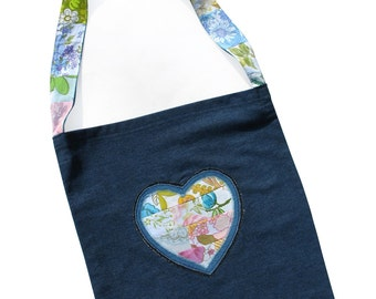 SALE: Was 29.95 .  Happy Scrappy Heart Bag. A Ladies Tote or a Library Bag for Girls.  - Christmas Birthday, Gift Idea .  HANDMADE