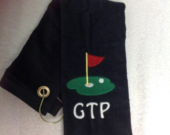 Great selling personalized terry velour golf towel.