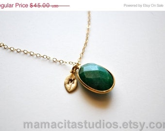 SALE Emerald Necklace - May Birthstone Personalized Necklace