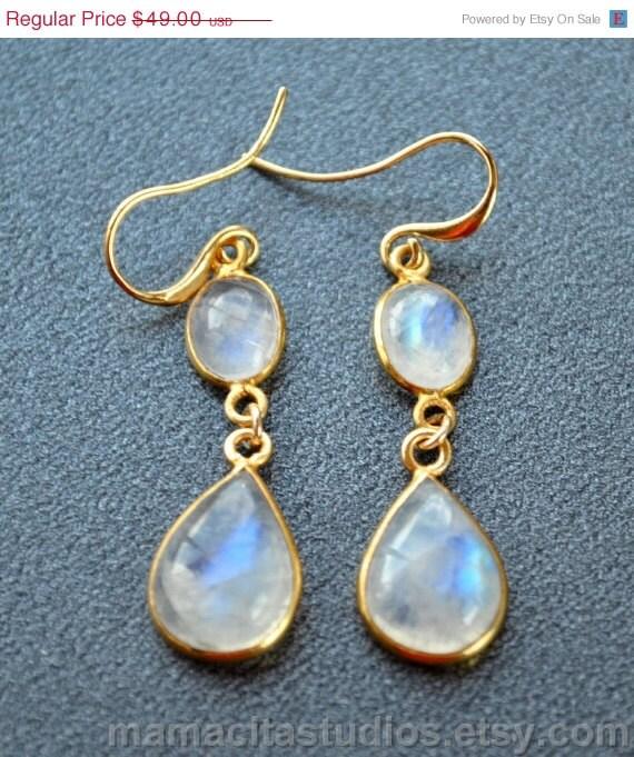 SALE Rainbow Moonstone Earrings June by NoelanisJewelry on ...