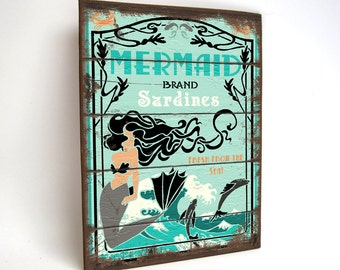Mermaid Sign Vintage Style Wood Yard Art Beach House Decor 12 x 16 inch Shabby Chic