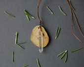 Wooden necklace ,raw crystal necklace,quartz necklace ,wood necklace,stone necklace