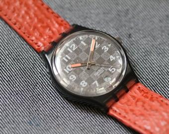 Vintage Swatch Watch Orange Leather Srtap Orange Hand Checkered dial