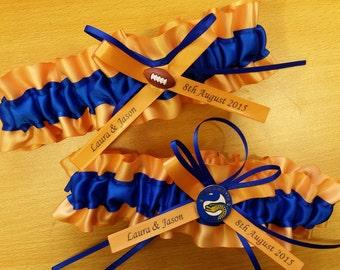 Parramatta Eels personalised Themed Wedding Garter set, football garter