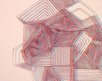 Unique 3D Geometry Screen print