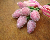 Frosted Pink Hypericum Berries Stamen Picks