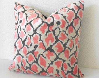 Coral Pink leopard velvet decorative pillow cover