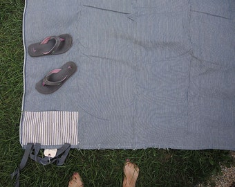 Picnic Blanket Cotton Denim Engineer Stripe with Pocket and Twill Carry Ties