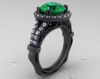 Caravaggio 14K Matte Black Gold 3.0 Ct Emerald Diamond Engagement Ring, Wedding Ring R620-14KMBGDEM