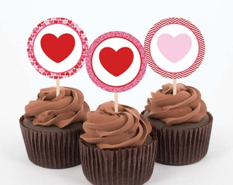 Instant Download - Lots of Love - Red and Pink Hearts and Glitter - 5 Printable Cupcake Toppers