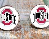 Sporty gift Ohio State cuff links Ohio State Buckeyes, graduation gift, silver cufflinks, groomsman gift,college cuff links,stocking stuffer
