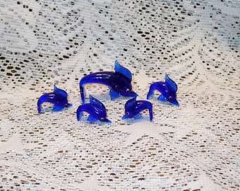 Vintage Blown Glass Dolphin Family 5 Pieces Miniatures