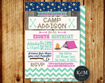 Camping Birthday Party Invitation / Printable / Digital File