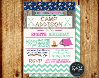 Camping Birthday Party Invitation / Printable / Digital File