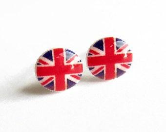 Union Jack Earrings, Tiny Resin Studs, British Flag Post Earrings, Hypoallergenic Surgical Steel Post Earrings, Dainty Jewelry