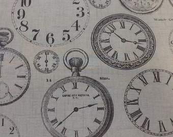 Fryetts Vintage Clocks design fabric 100% cotton by the half metre