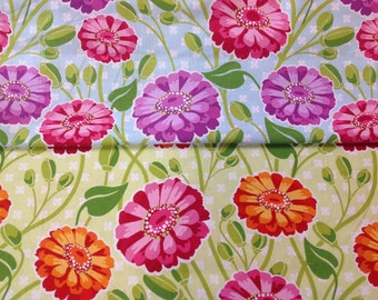 Michael miller designer cotton craft fabric zinnia garden by the half metre in sky and green