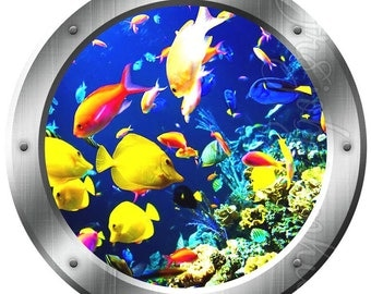 Ocean Fish Porthole Window View Wall Decal Coral Reef Ocean Fish Wall Art PO23  sc 1 st  Etsy & Sea Turtle 3D Porthole Coral Reef Vinyl Wall Decal Underwater