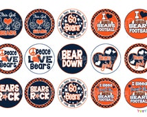 Bears FOOTBALL Blue & Orange School Spirit Bottle Cap Images 4x6 Printable Bottlecap Collage INSTANT DOWNLOAD