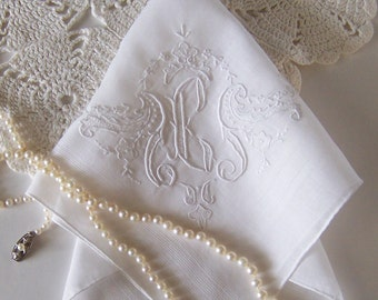 Vintage Handkerchief Monogrammed E for a Bride Wedding Hanky in Off White Old English Text Initial Something Old