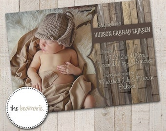 Digital Baby Birth Announcement -- Woodland