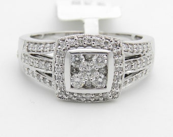 Diamond Engagement Cluster Ring 14K White Gold 3/4 ct Brilliant Natural Halo Size 7