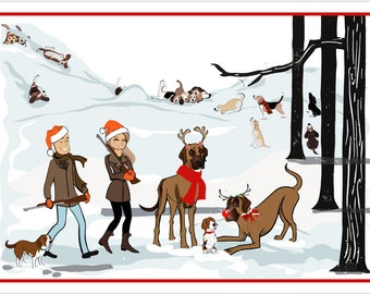 Hunting Holiday - Custom Illustrated Christmas Card - Holiday Card - Hannukah Card - DIY Printable - Print Option Available