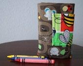 Crayon Wallet - Underground Animals -  - Crayon Holder - Crayon Roll - Crayons & Paper Included